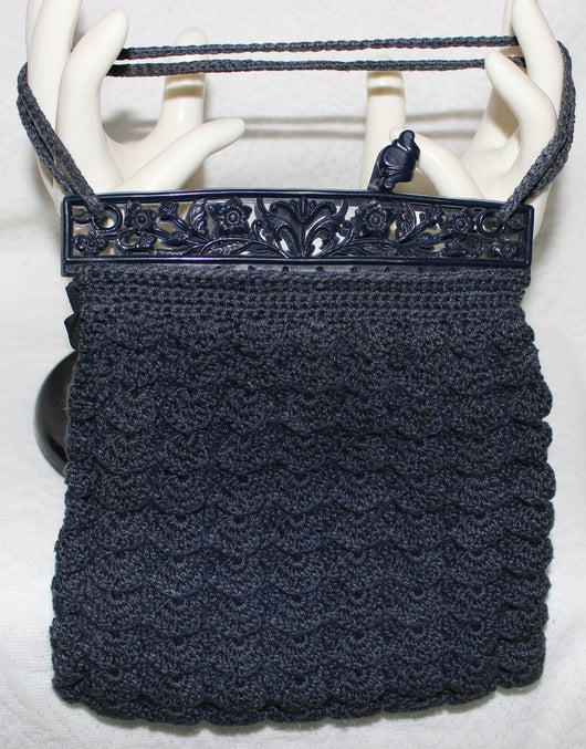 Vintage Handbags And Accessories - 1930's Navy Blue Crocheted Gimp Handbag