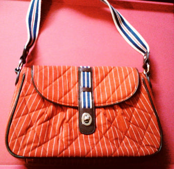 Retired Vera Bradley Seaport Stripe Flap Shoulder Bag Limited - Old Orchard Antiques And Collectibles