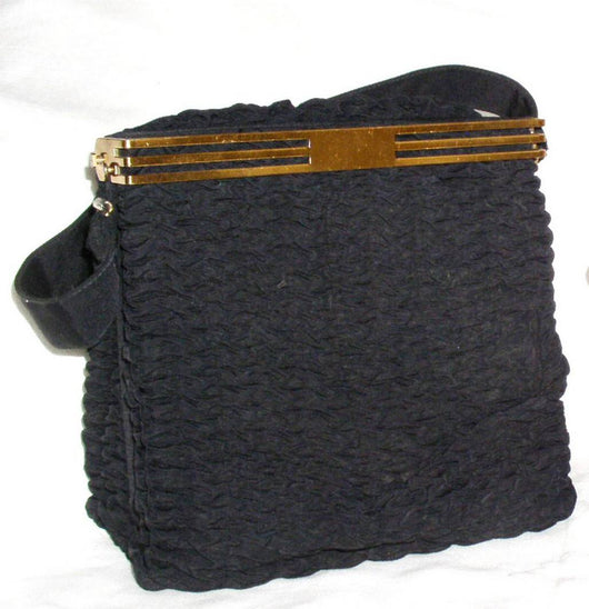 Vintage Handbags And Accessories - Vintage 1930's-40's Navy Shirred Grosgrain Handbag