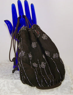 Vintage Victorian Beaded Reticule Drawstring Bag - Old Orchard Antiques And Collectibles