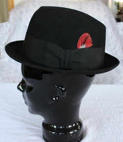 Vintage Black Royal Stetson Fedora Hat With Box - Old Orchard Antiques And Collectibles