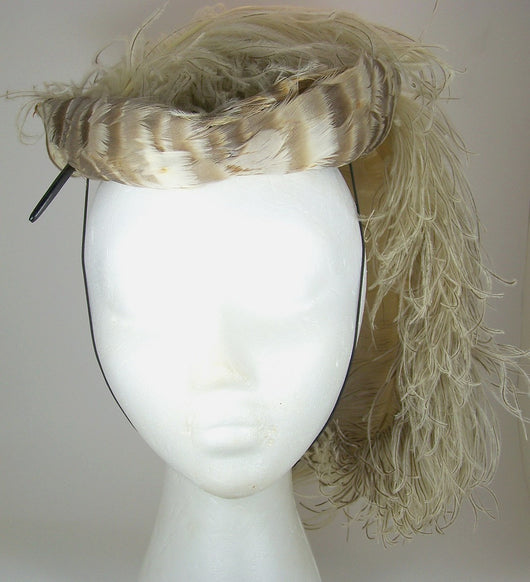 Vintage Ostrich Plume Feather Pillbox Hat 1920s-40s - Old Orchard Antiques And Collectibles