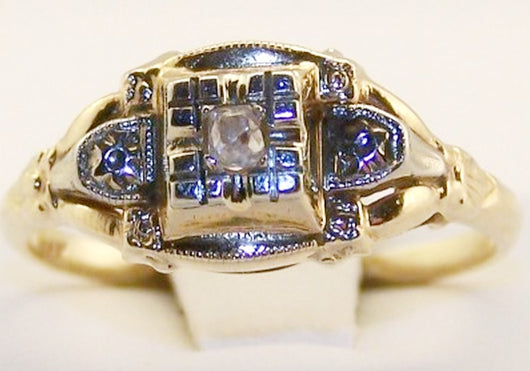 14k Victorian Mine Cut Diamond Ring - Old Orchard Antiques And Collectibles - 3