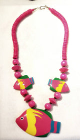 Vintage Jewelry And Accessories - Colorful Pink Fish Bead Necklace And Earring Set Philippines