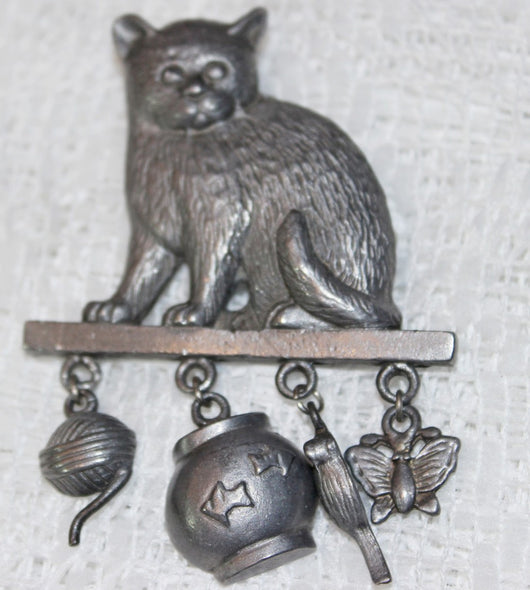 Grey Metal Cat Pin With 4 Charms - Old Orchard Antiques And Collectibles