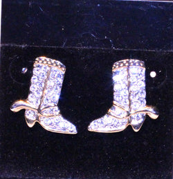 Cowboy Boot Rhinestone Pierced Earrings - Old Orchard Antiques And Collectibles