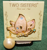 Two Sisters Lauren and Leah Enamel Floral Brooch Pin - Old Orchard Antiques And Collectibles - 1