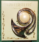 Two Sisters Lauren and Leah Faux Pearl Brooch Pin - Old Orchard Antiques And Collectibles