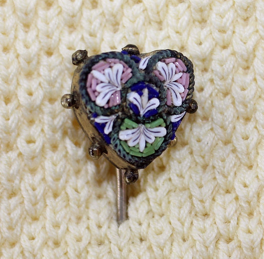 Victorian Micro Mosaic Floral Heart Stick Pin - Old Orchard Antiques And Collectibles