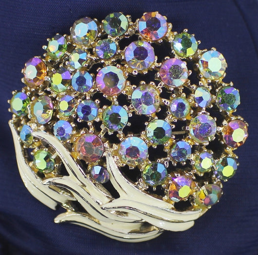 Vintage Art Mode Aurora Borealis Crystal Pin Brooch - Old Orchard Antiques And Collectibles