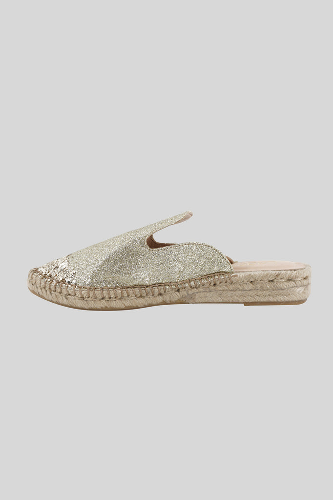 Slipper with suede upper / Gold