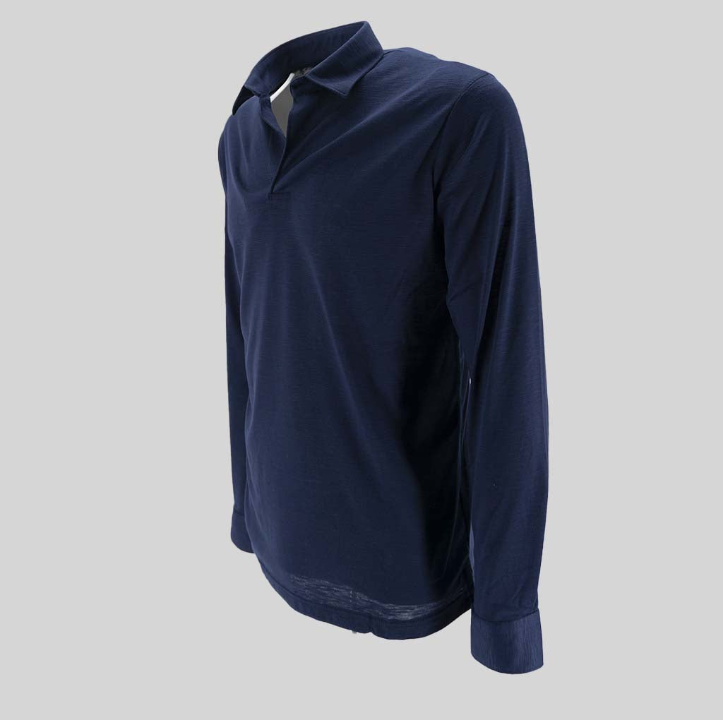 Long Sleeve Polo Shirt / Blue