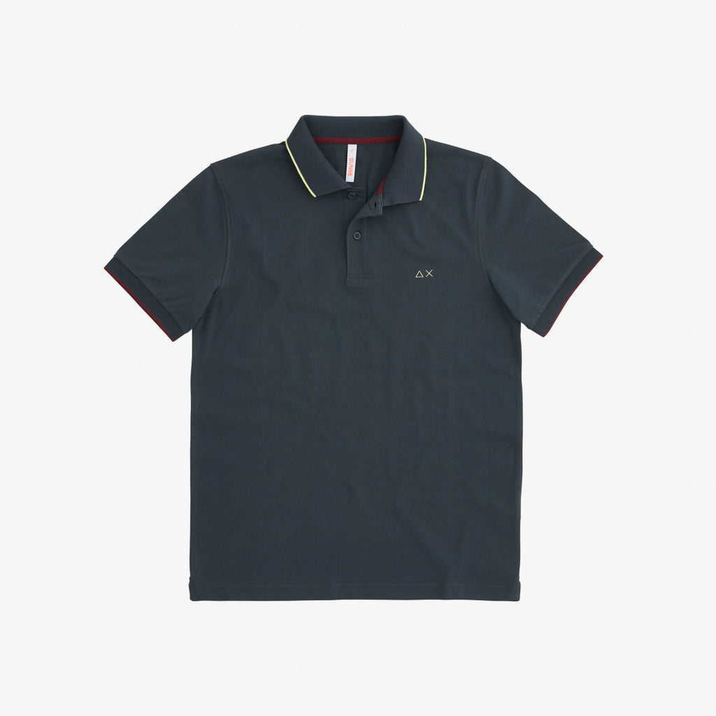 Polo Small Stripes on Collar / Grey