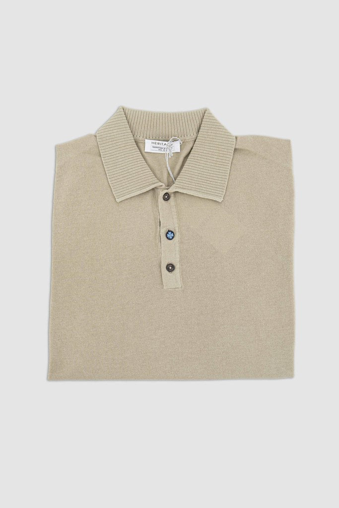 Polo with Ribbed Collar / Beige