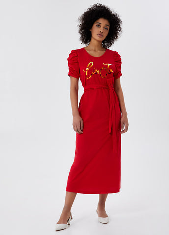 Long dress with belt / Red