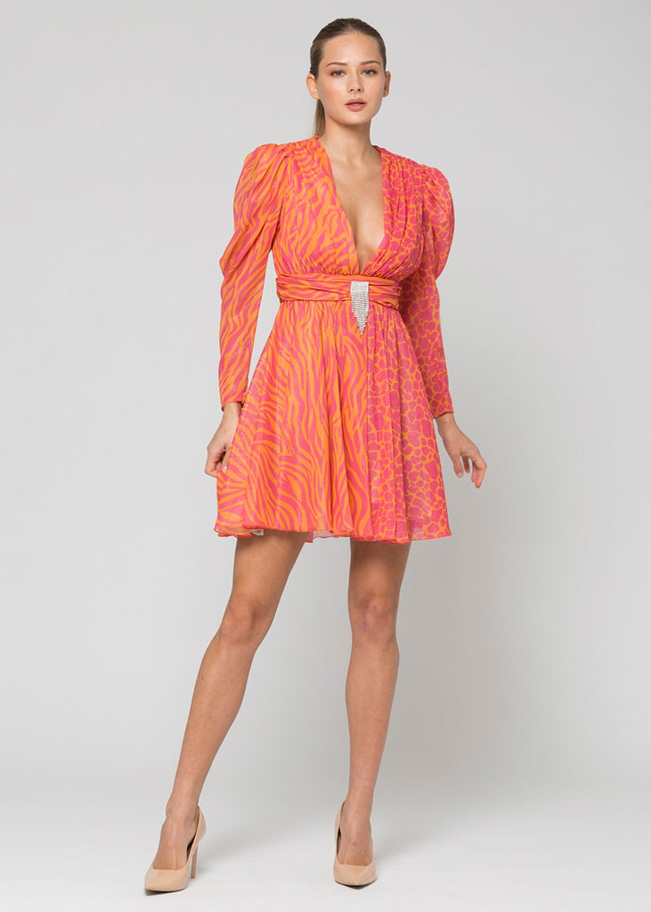 Short dress with double patterned fabric / Multicolor