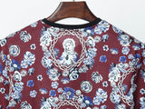 D&G T Shirt Virgin Mary Maroon Print