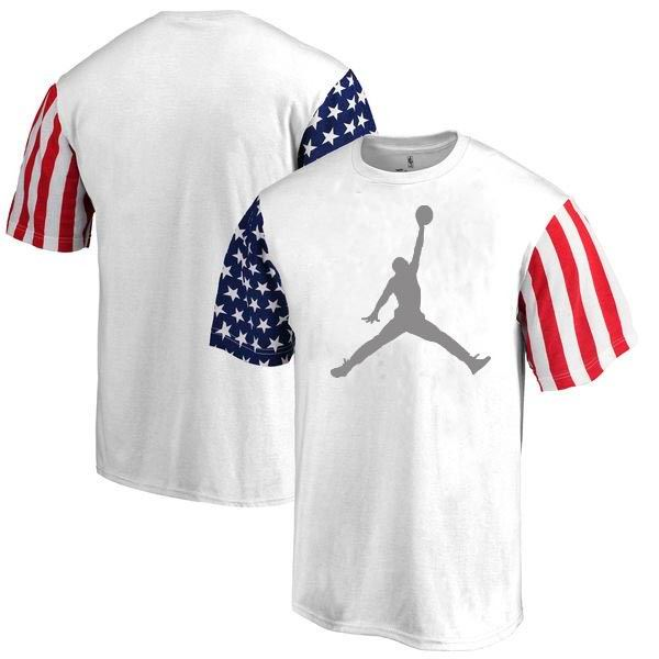 Jordan Flag Sleeve Print T-Shirt White