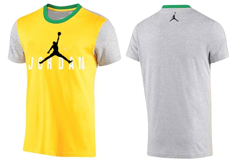 Jordan T shirt Man Gray and Yellow Ringer Tee