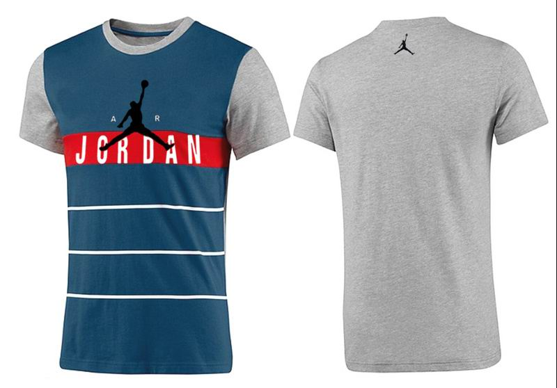 Jordan T shirt Man Gray and Steel Blue Print