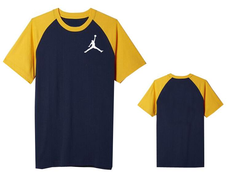 Jordan T shirt Man Dark Blue and Yellow Sleeve