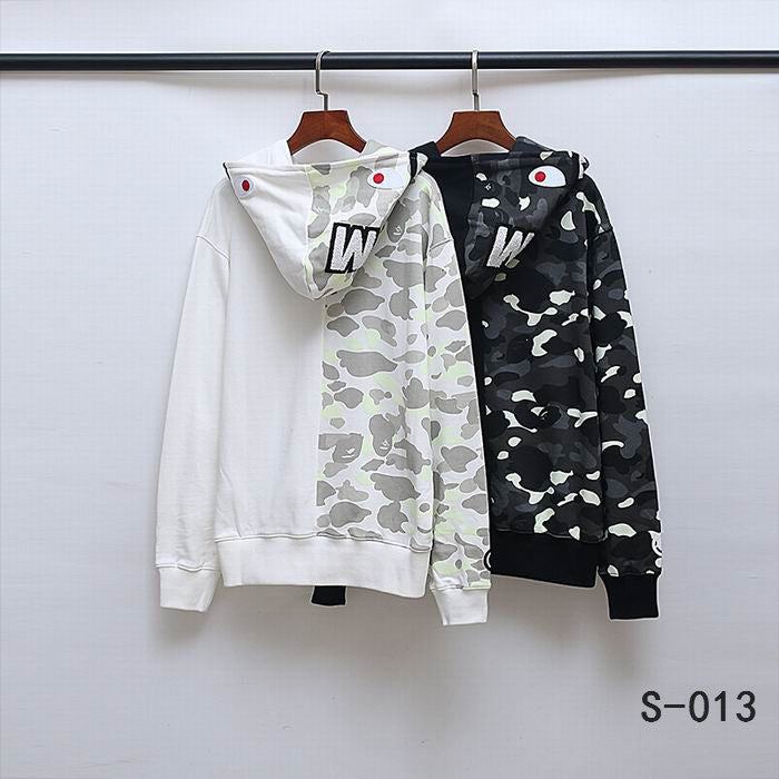 BAPE Split Camo Shark Head Hoodies