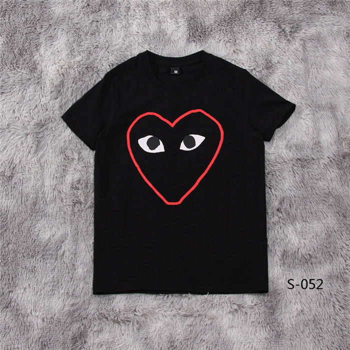 PLAY Red Outline Heart Tee Black