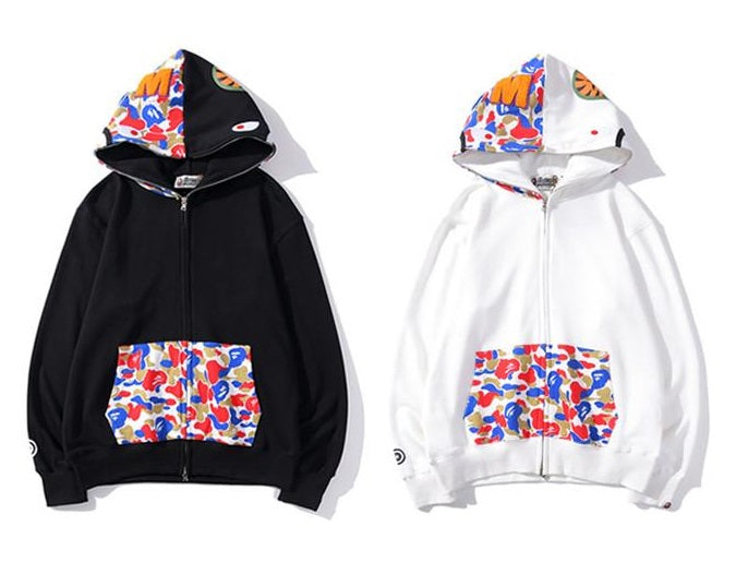 BAPE WGM Camo Pocket Shark Head Hoodies