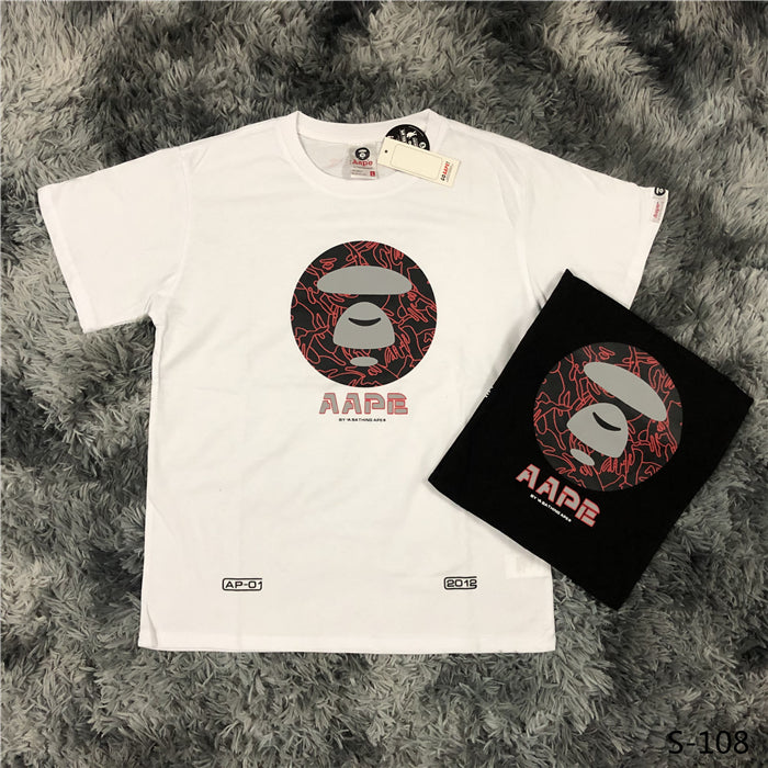 AAPE Round Red Camo Logo Tees