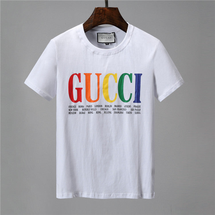 GUCCI PRINT INTERNATIONAL WHITE T SHIRT