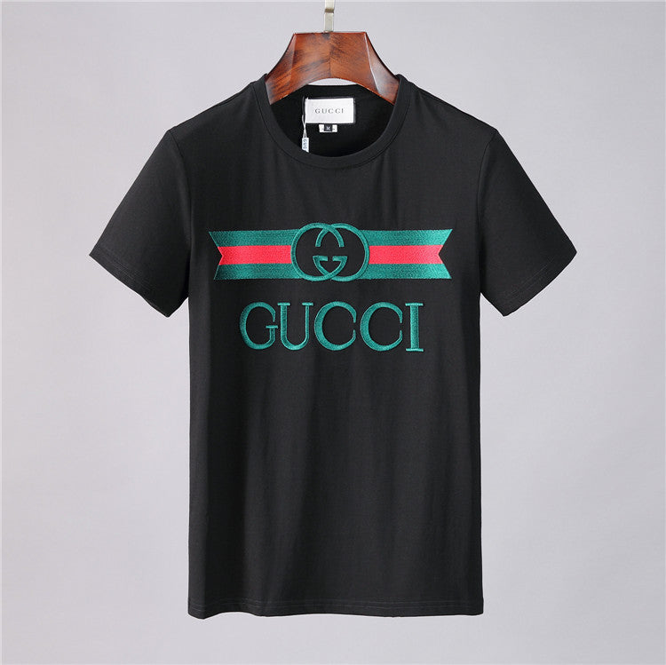 GUCCI EMBROIDERED T-SHIRT BALCK