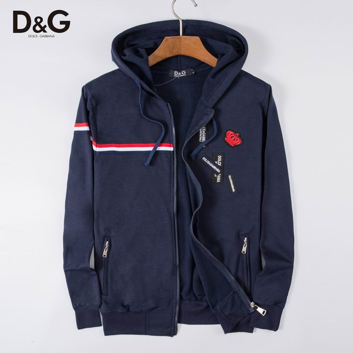 D&G Hoodies Blue Small Crown Print