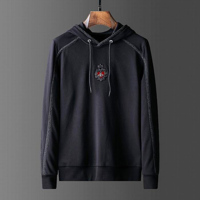 D&G Hoodies Plain Black Heart Print