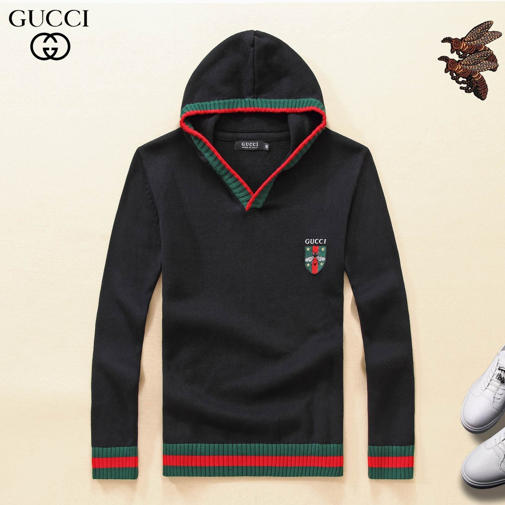 GUCCI HOODIE BLACK KNITTED GREEN AND RED
