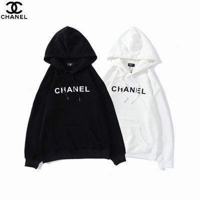CHANEL HOODIE BLACK AND WHITE WITH PRINT