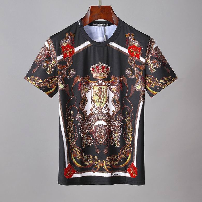 D&G T Shirt Black Royal Print