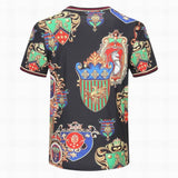 D&G T Shirt Black Royal Symbols Print