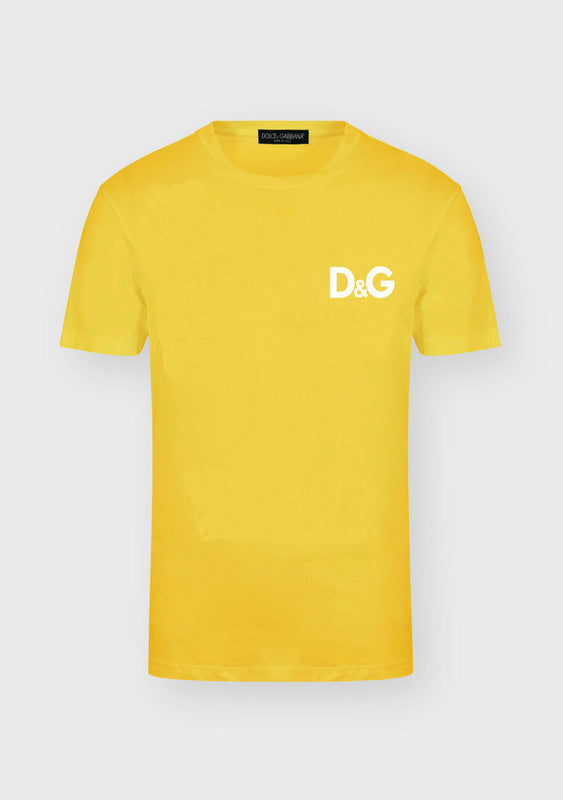 D&G T Shirt Yellow Plain Logo Print
