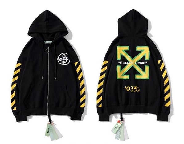 OFF-WHITE Full Wide Zipper Hoodie Black