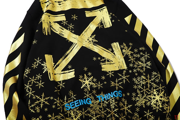 OFF-WHITE Gold Snowflakes Hoodie Black