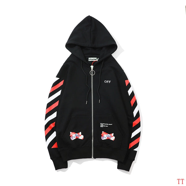 OFF-WHITE R/W Stripes Pascal Cross Zipper Hoodie Black