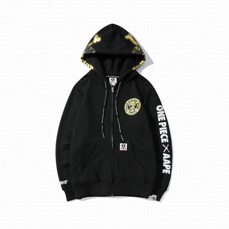 AAPE X ONE PIECE Bone Head Hoodie Black