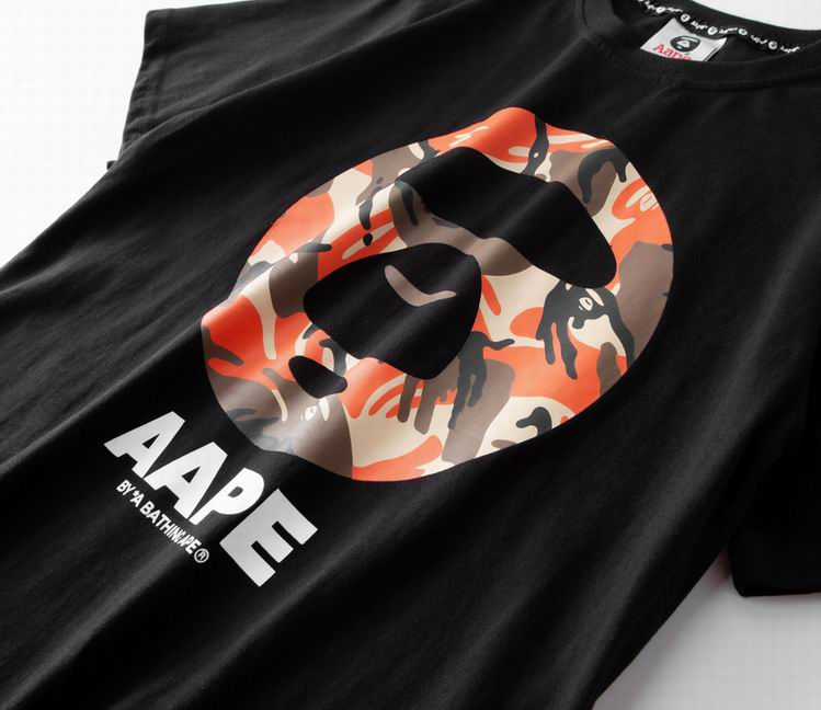 AAPE Logo Orange Camouflage TEE Black