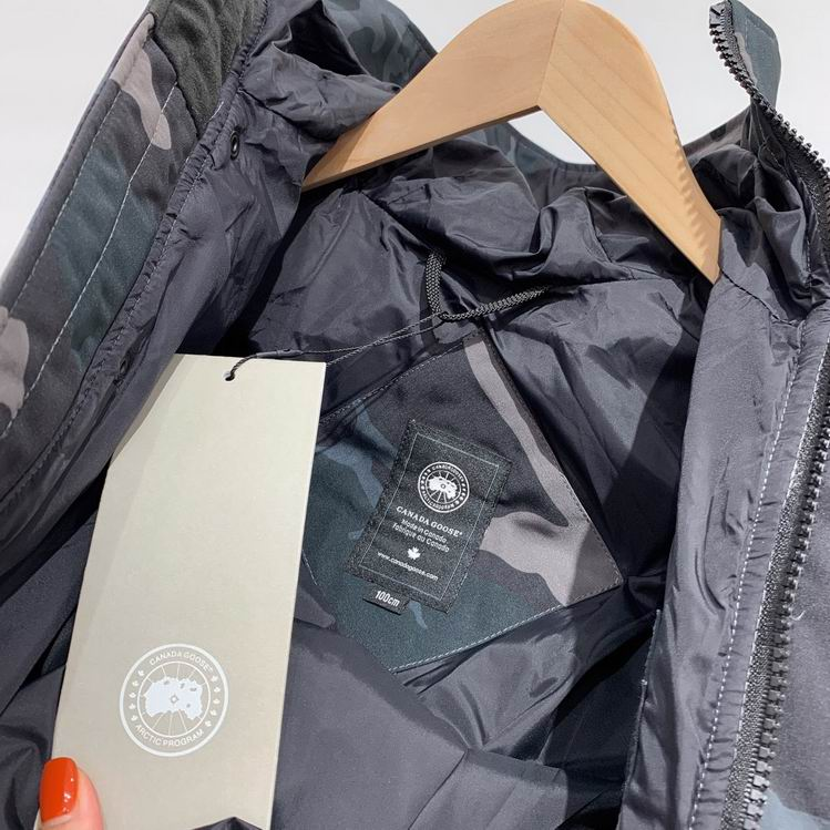 CANADA GOOSE KID CAMOUFLAGE ZIPPER BUTTONED HOODED JACKET