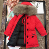 CANADA GOOSE SIDE BUTTONED ZIPPER FUR HOODED COAT RED