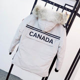 Canada Goose Down Coat BUTTONED FUR WHITE HOODED JACKET CANADA BACK PRINT