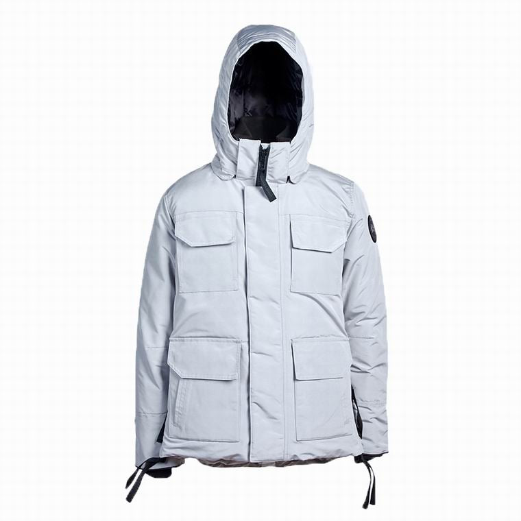 CANADA GOOSE MAN BUTTONED HOODED JACKET WITH 4 FRONT POCKET WHITE