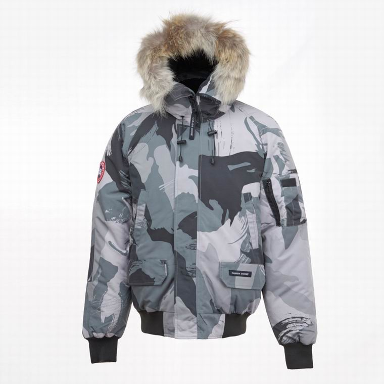 Canada Goose Down Hooded Jacket Man Zipper side pocket patch plain and camouflage colour