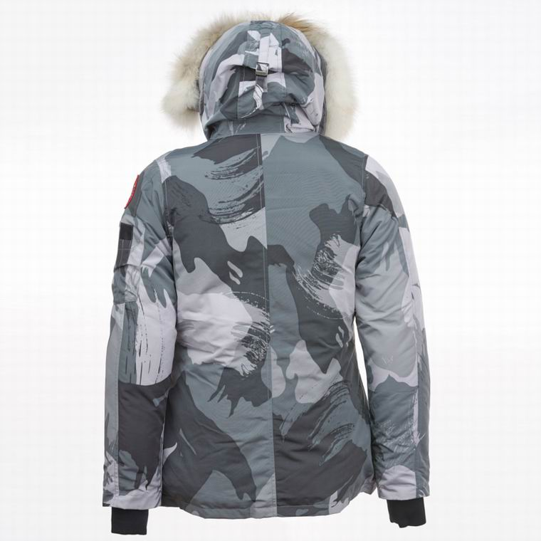 CANADA GOOSE BUTTONED ZIPPER FUR HOODED JACKET CAMOUFLAGE (WHITE,GREY, DARK GREY)