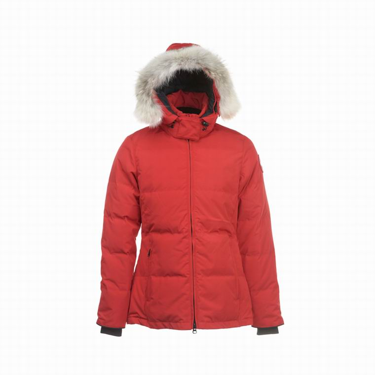 CANADA GOOSE WOMAN ZIPPER  POCKET FUR HOODED JACKET ORANGERED